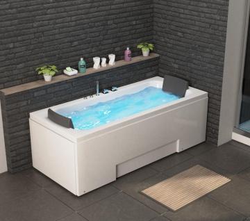 Luxus Whirlpool Badewanne Island mit 8 Massage Düsen LED Armaturen für 2 Personen Eckwanne günstig