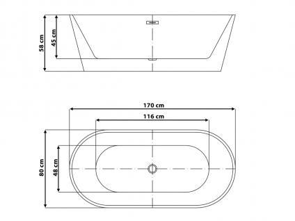 Freistehende Badewanne Hawaii schöne Luxus Acryl Wanne für Bad Badezimmer oval Chrom freistehend günstig - Vorschau 3