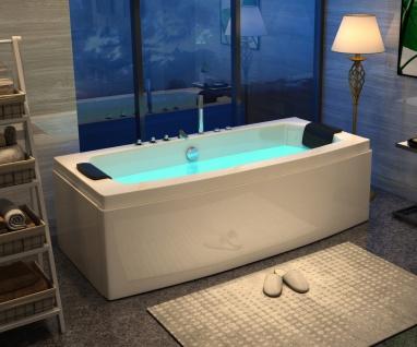 Luxus Whirlpool Badewanne Neapel 170 x 80 cm mit 12 Massage Düsen Spa für Bad freistehend an nur 1 Wand