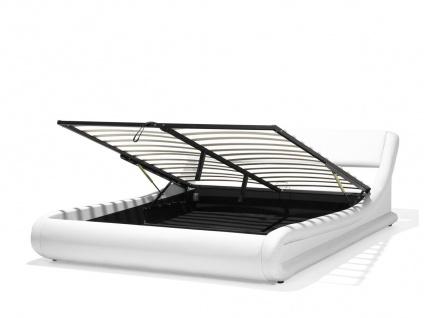 Designer Leder Polsterbett Alicante Lederbett weiss 160 / 180 x 200 cm mit Bettkasten + Lattenrost