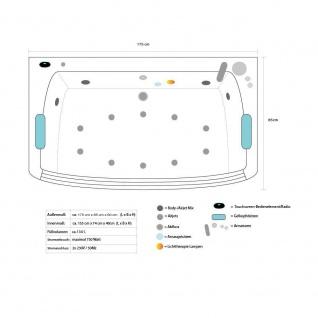 Luxus Whirlpool Badewanne Alicante mit 15 Massage Düsen + LED + Heizung + Ozon + Glas für Bad weiss - Vorschau 5