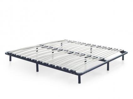 Designer ECHTLEDER Bett Polsterbett Vicky Lederbett schwarz weiß 180x200 cm mit Lattenrost günstig - Vorschau 4