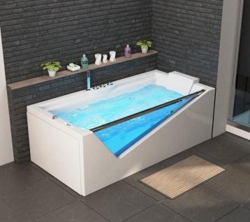 Luxus Whirlpool Badewanne Rimini mit 14 Massage Düsen + Glas + LED + Heizung + Ozon für Bad weiss