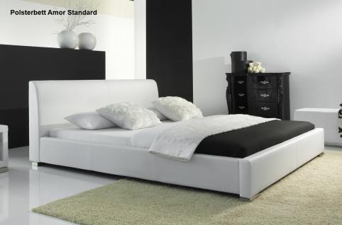 """Leder Bett / Polsterbett """"Amor"""" Lederbett weiss oder schwarz mit glattes Kopfteil günstig - Vorschau 2"""