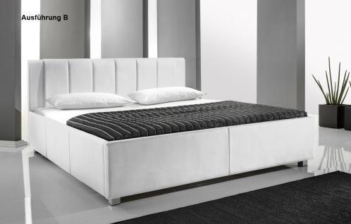 "Designer Lederbett / Polsterbett ""Mia"" Leder Bett weiss 3 verschiedene Kopfteile wählbar - Vorschau 2"