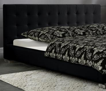 "Leder Bett / Polsterbett ""Sina"" niedriges Lederbett weiss oder schwarz versteppt, günstig - Vorschau 2"