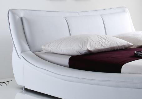 """Designer Lederbett / Polsterbett """"Selina"""" Bett weiss oder schwarz wellenförmiges Design - Vorschau 2"""