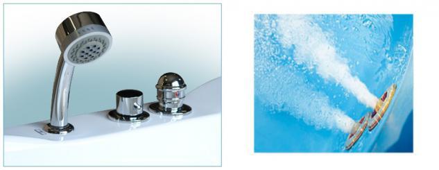 Whirlpool Badewanne St. Tropez mit 14 Massage Düsen + Heizung + Ozon + Wasserfall + Beleuchtung innen - Vorschau 2