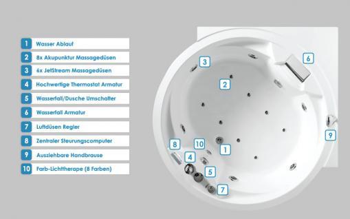 Whirlpool Badewanne Florenz rund mit 14 Massage Düsen + Heizung + Ozon + Wasserfall + Beleuchtung innen - Vorschau 2