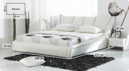 designer echtleder bett leder polsterbett royal 160 180x200 cm echt lederbett weiss mit. Black Bedroom Furniture Sets. Home Design Ideas