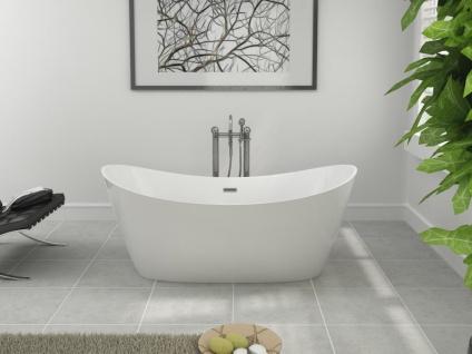 Freistehende Badewanne Odessa schöne Luxus Acryl Wanne für Bad Badezimmer oval Chrom freistehend günstig