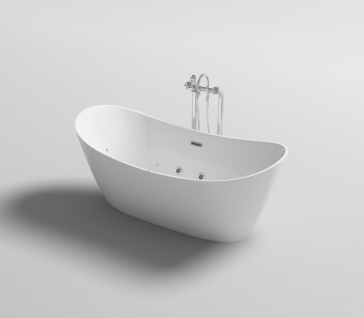 Freistehender Luxus Whirlpool Badewanne Orlando freistehend mit 12 Massage Düsen + LED Spa für Bad - Vorschau 3