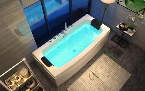 Luxus Whirlpool Badewanne Neapel 170 x 80 cm mit 12 Massage Düsen Spa für Bad freistehend an nur 1 Wand - Vorschau 2