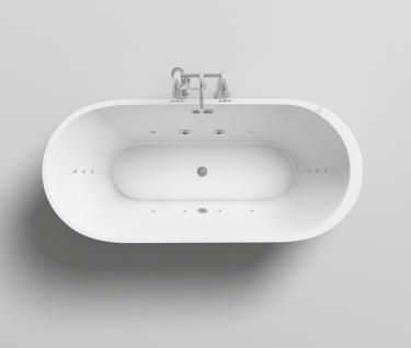 Freistehender Luxus Whirlpool Badewanne Bern freistehend mit 12 Massage Düsen + LED Spa für Bad - Vorschau 3