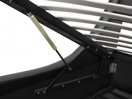 Designer Leder Polsterbett Alicante Lederbett schwarz 160 / 180 x 200 cm mit Bettkasten + Lattenrost - Vorschau 4