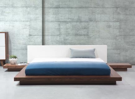 "Design Massivholz Bett ""Japan Style"" 180x200 cm Holz Bett Walnuss Hellbraun mit Lattenrost - Futonbett japanischer Stil - Vorschau 1"