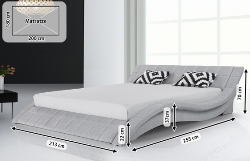 Designer Stoff Bett Polsterbett Vicky Lederbett schwarz + grau 180 x 200 cm mit Lattenrost - Vorschau 5