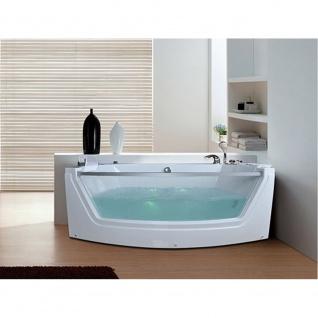 Luxus Whirlpool Badewanne Alicante mit 15 Massage Düsen + LED + Heizung + Ozon + Glas für Bad weiss - Vorschau 2