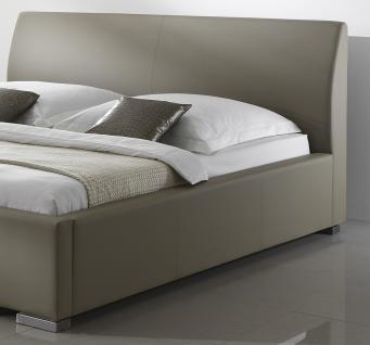 """Leder Bett / Polsterbett """"Amor"""" Lederbett braun oder beige / muddy mit glattes Kopfteil günstig - Vorschau 3"""