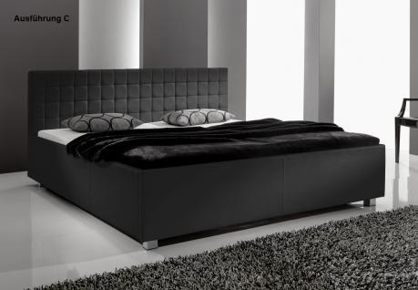 "Designer Lederbett / Polsterbett ""Mia"" Leder Bett schwarz 3 verschiedene Kopfteile wählbar - Vorschau 3"