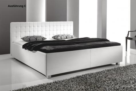 "Designer Lederbett / Polsterbett ""Mia"" Leder Bett weiss 3 verschiedene Kopfteile wählbar - Vorschau 3"