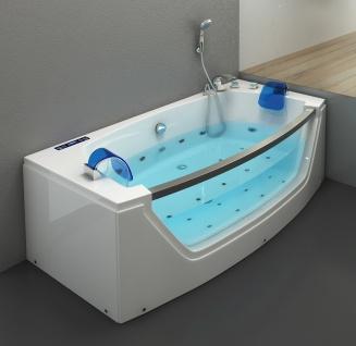 Luxus Whirlpool Badewanne Alicante mit 15 Massage Düsen + LED + Heizung + Ozon + Glas für Bad weiss