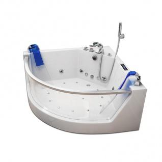 Luxus Whirlpool Badewanne Atlanta mit 17 Massage Düsen + LED + Heizung + Ozon + Glas für Bad weiss - Vorschau 2