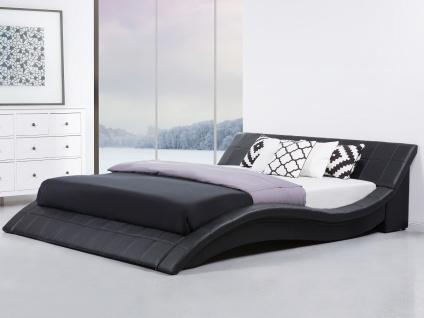 Designer ECHTLEDER Bett Polsterbett Vicky Lederbett schwarz weiß 180x200 cm mit Lattenrost günstig - Vorschau 2