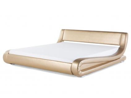 """Designer ECHTLEDER Bett Lederbett """"Avignon"""" gold Polsterbett mit Lattenrost / Lattenrahmen günstig 160 oder 180 x 200 cm - Vorschau 2"""