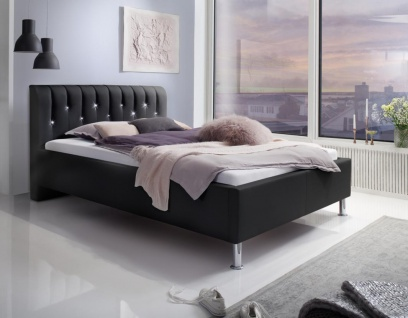 Luxus Designer Lederbett Rimini mit SWAROVSKI® Kristallen Leder Bett Glitzer Polsterbett SCHWARZ