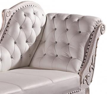 Designer ECHTLEDER Chaiselongue Leder Chesterfield WEISS, SILBER oder GOLD Lounge Couch Sofa aus Eiche Holz - Vorschau 2