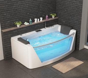 Luxus Whirlpool Badewanne Macao mit 14 Massage Düsen Glas LED Heizung Ozon Radio Armaturen Bad