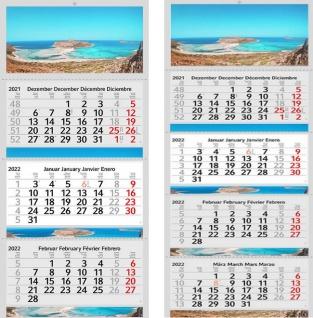 3 / 4 Monatskalender 2022 Balos Motiv Kalender Foto Strand Wandkalender Fotokalender Bürokalender ohne Werbung