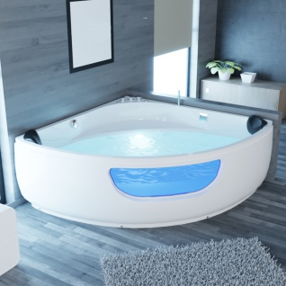 Luxus Whirlpool Badewanne Portland 135x135 / 150x150 cm mit 8 Massage Düsen LED Armaturen für 2 Personen Eckwanne