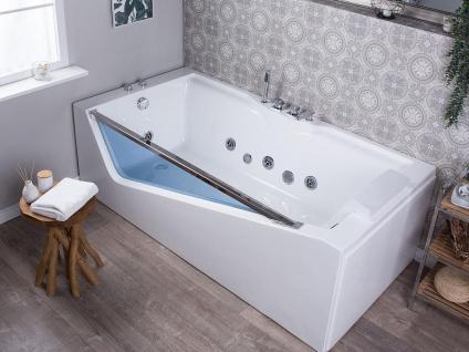 Luxus Whirlpool Badewanne Rimini mit 6 Massage Düsen Glas Front LED freistehend an nur 1 Wand für Bad weiss
