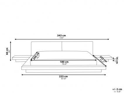 "Design Massivholz Bett ""Japan Style"" 180x200 cm Holz Bett Walnuss Hellbraun mit Lattenrost - Futonbett japanischer Stil - Vorschau 5"