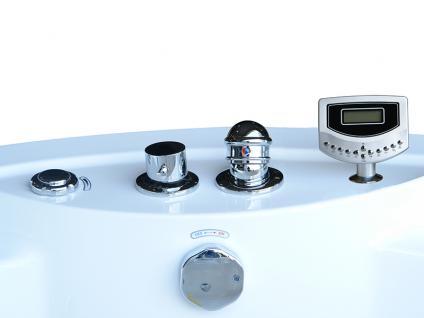 Whirlpool Badewanne Florenz rund mit 14 Massage Düsen + Heizung + Ozon + Wasserfall + Beleuchtung innen - Vorschau 5