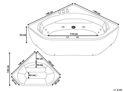 Luxus Whirlpool Badewanne Malta 140 x 140 cm mit 12 Massage Düsen LED Spa für Bad Eckwanne günstig - Vorschau 5