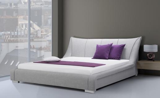 Designer Stoffbett Bett / Polsterbett Royal mit Stoffbezug grau 140 160 180 x 200 cm mit Lattenrost