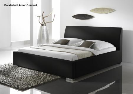 """Leder Bett / Polsterbett """"Amor"""" Lederbett weiss oder schwarz mit glattes Kopfteil günstig - Vorschau 4"""