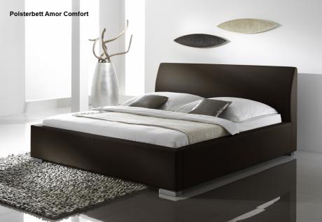 """Leder Bett / Polsterbett """"Amor"""" Lederbett braun oder beige / muddy mit glattes Kopfteil günstig - Vorschau 4"""