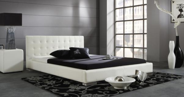 "Leder Bett / Polsterbett ""Sina"" niedriges Lederbett weiss oder schwarz versteppt, günstig - Vorschau 4"