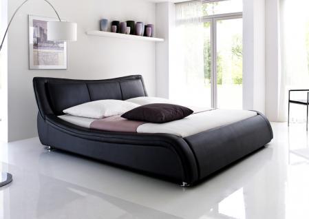 """Designer Lederbett / Polsterbett """"Selina"""" Bett weiss oder schwarz wellenförmiges Design - Vorschau 4"""