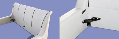 "Designer ECHTLEDER Bett Leder Polsterbett ""Royal"" 160 / 180x200 cm Echt Lederbett weiss mit Lattenrost - Vorschau 4"