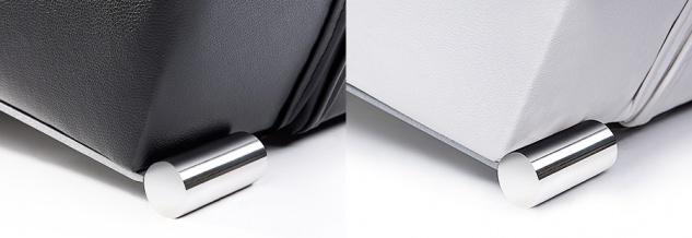 """Designer ECHTLEDER Bett echtes Lederbett """"Miami"""" schwarz + weiß Polsterbett mit Lattenrost / Lattenrahmen - Vorschau 3"""