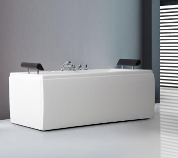 Whirlpool Badewanne Manhattan weiss freistehend 1 Wand mit 14 Massage Düsen LED Beleuchtung Luxus Spa innen günstig