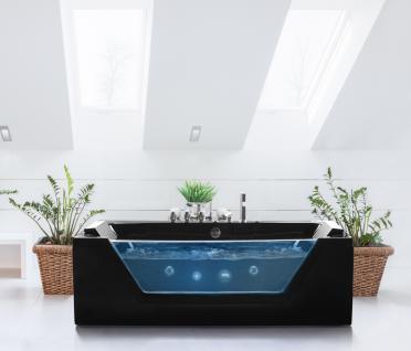 Whirlpool Badewanne Samurai SCHWARZ 3 Größen freistehend mit 10 Massage Düsen LED Glas Luxus Spa günstig