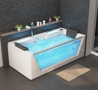 Luxus Whirlpool Badewanne Korfu mit 14 Massage Düsen + Glas + LED Bach + Heizung + Ozon + Radio für Bad weiss