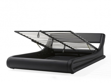 Designer Leder Polsterbett Alicante Lederbett schwarz 160 / 180 x 200 cm mit Bettkasten + Lattenrost