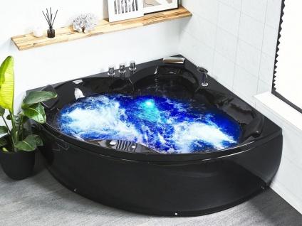 Whirlpool Badewanne Monaco schwarz Eckbadewanne mit 12 Massage Düsen Beleuchtung Sprudelbad Eckwanne innen
